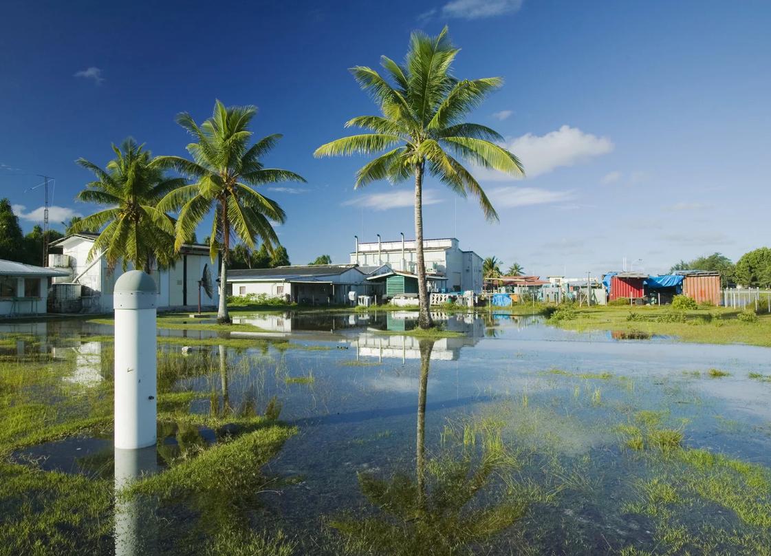 Tuvalu, Atollo Funafuti in Polinesia. Un'intera nazione insulare (10mila abitanti) che rischia di scomparire per l'innalzamento delle acque - si trova infatti a 4,5 metri sopra il livello del mare (fonte: Getty)